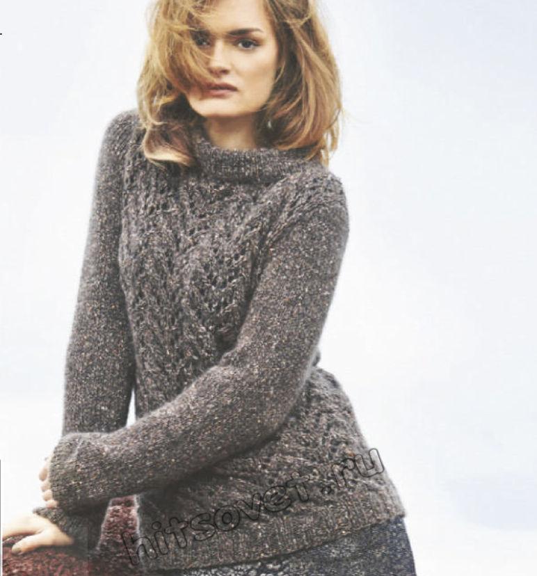 Серый свитер с ажурным узором, фото.