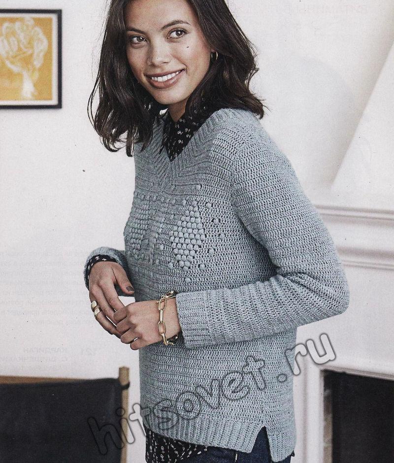 Стильный пуловер крючком из 100% шерсти, фото 1.