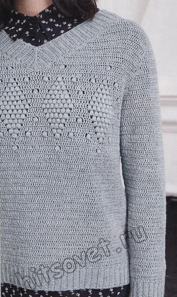Стильный пуловер крючком из 100% шерсти, фото 2.