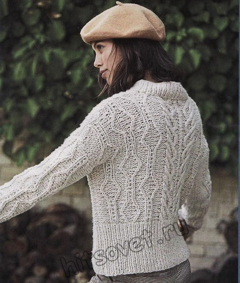Стильный вязаный свитер с косами и ромбами, фото 2.