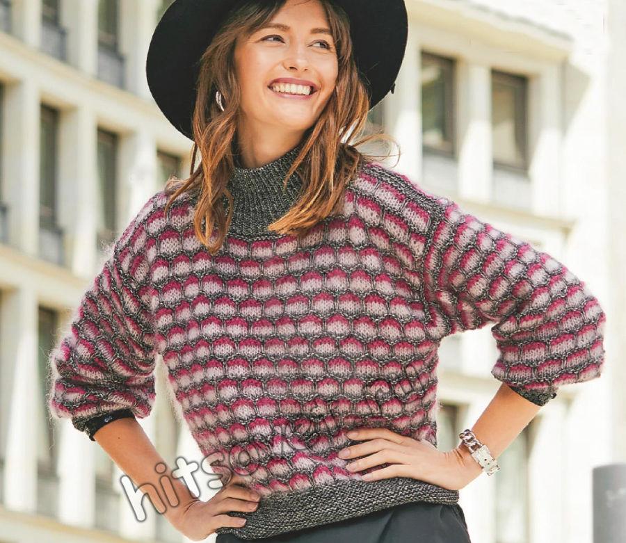 Трехцветный свитер с красивым узором, фото.