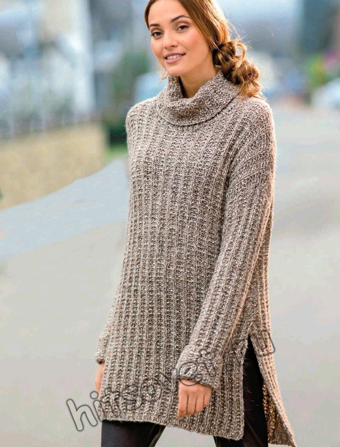 Туника свитер с воротником спицами, фото.