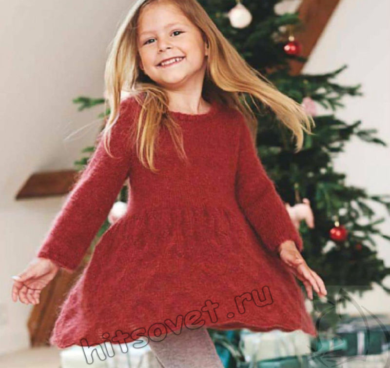 Вязаное ажурное платье для девочки, фото.