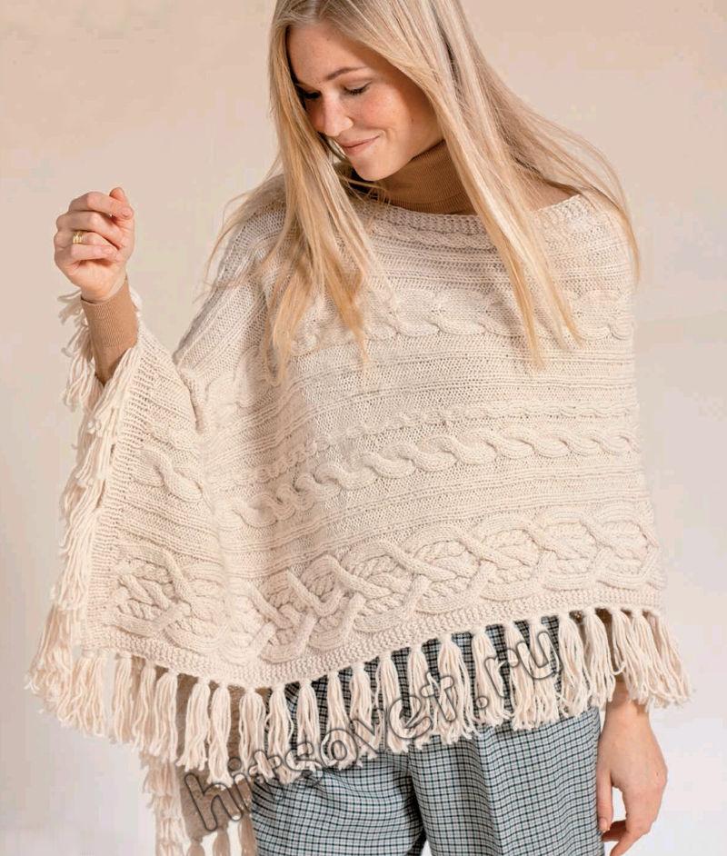Вязаное пончо с косами и кистями