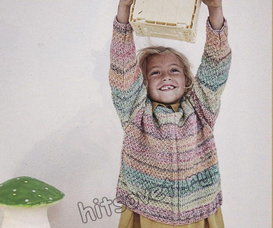 Вязаный разноцветный пуловер для девочки, фото 1.