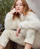 Белый свитер с рельефными косами