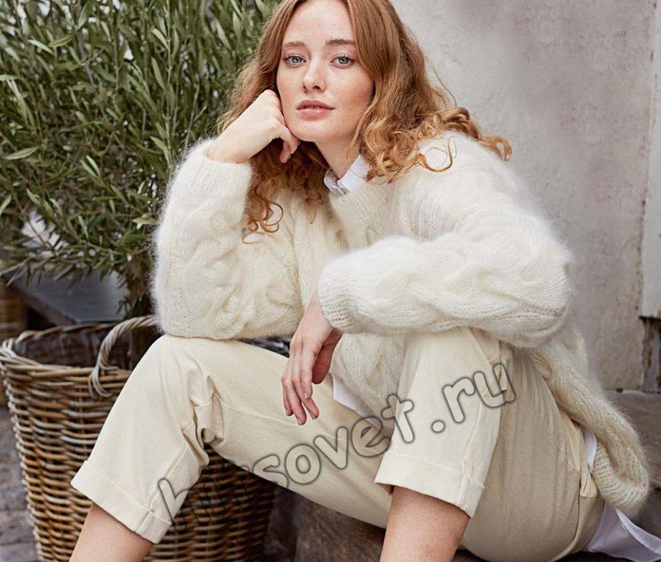 Белый свитер с рельефными косами, фото 1.