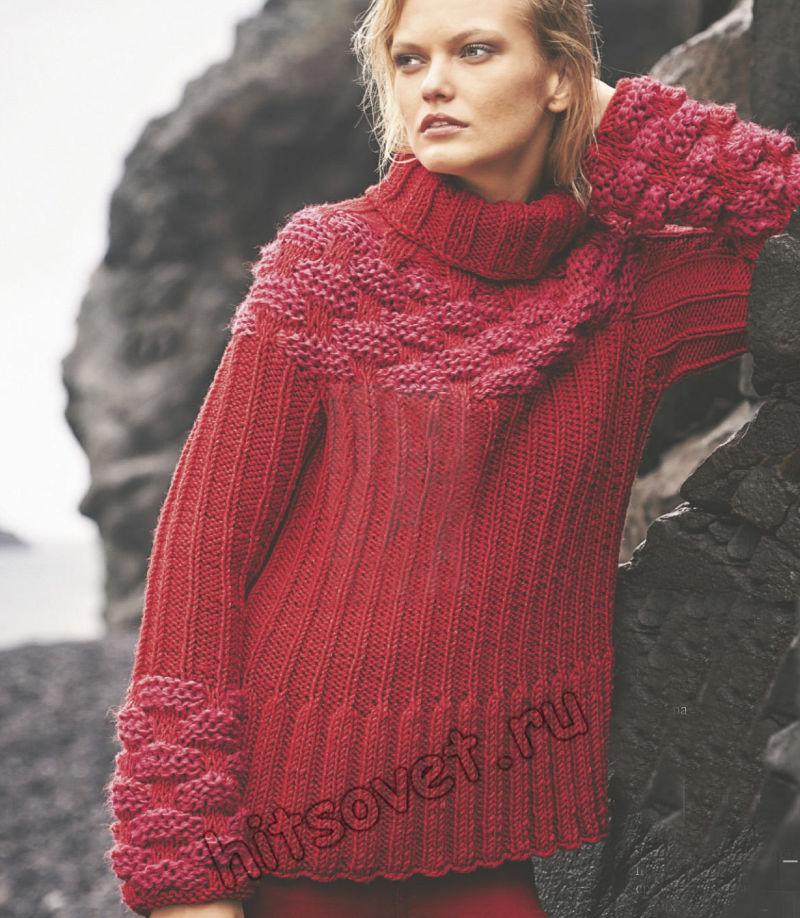 Красный свитер с плетеным узором, фото.