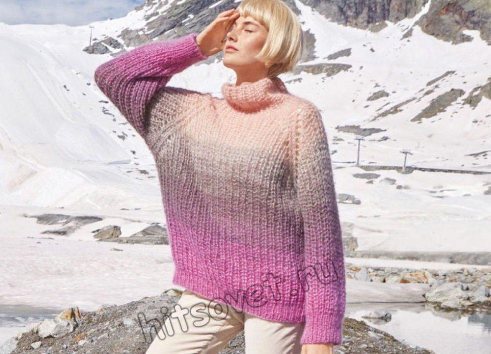 Мохеровый свитер полупатентной резинкой, фото.