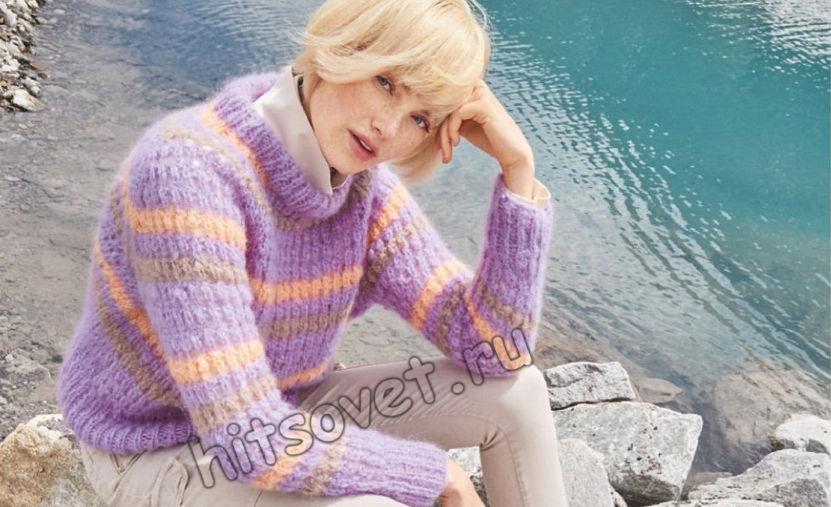 Полосатый пуловер резинкой с дырочками, фото.