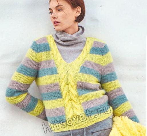 Полосатый пуловер с центральной косой, фото.