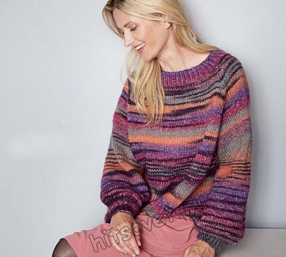 Пуловер оверсайз из секционной пряжи, фото 1.
