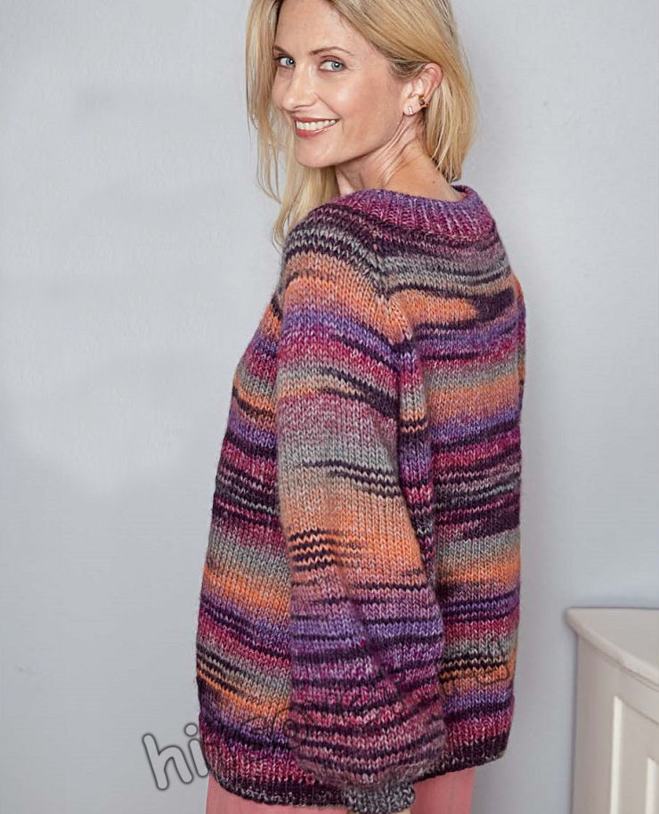 Пуловер оверсайз из секционной пряжи, фото 2.