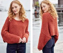Укороченный терракотовый пуловер спицами. фото 2.