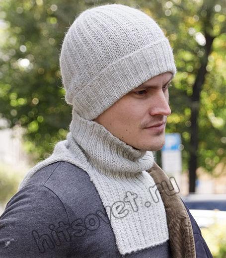 Вязаная шапка и манишка для мужчин, фото.