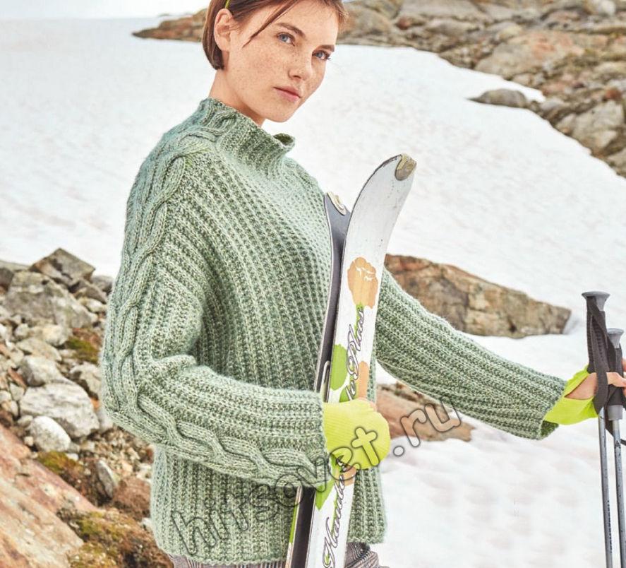 Вязаный свитер с косами Telsea, фото.