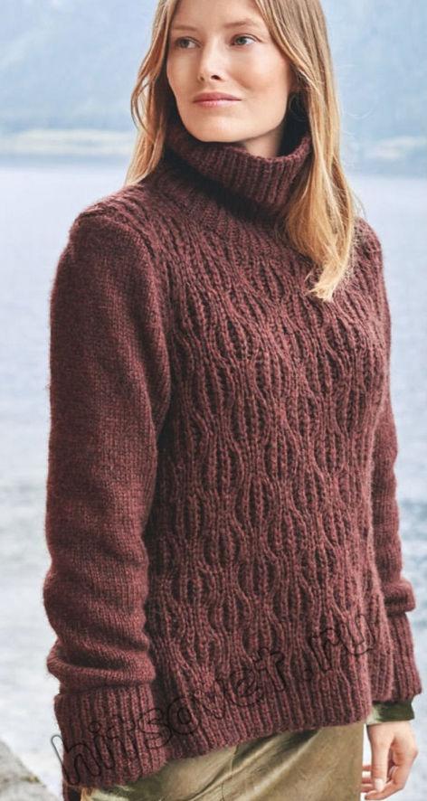 Вязаный свитер с шахматным узором, фото.