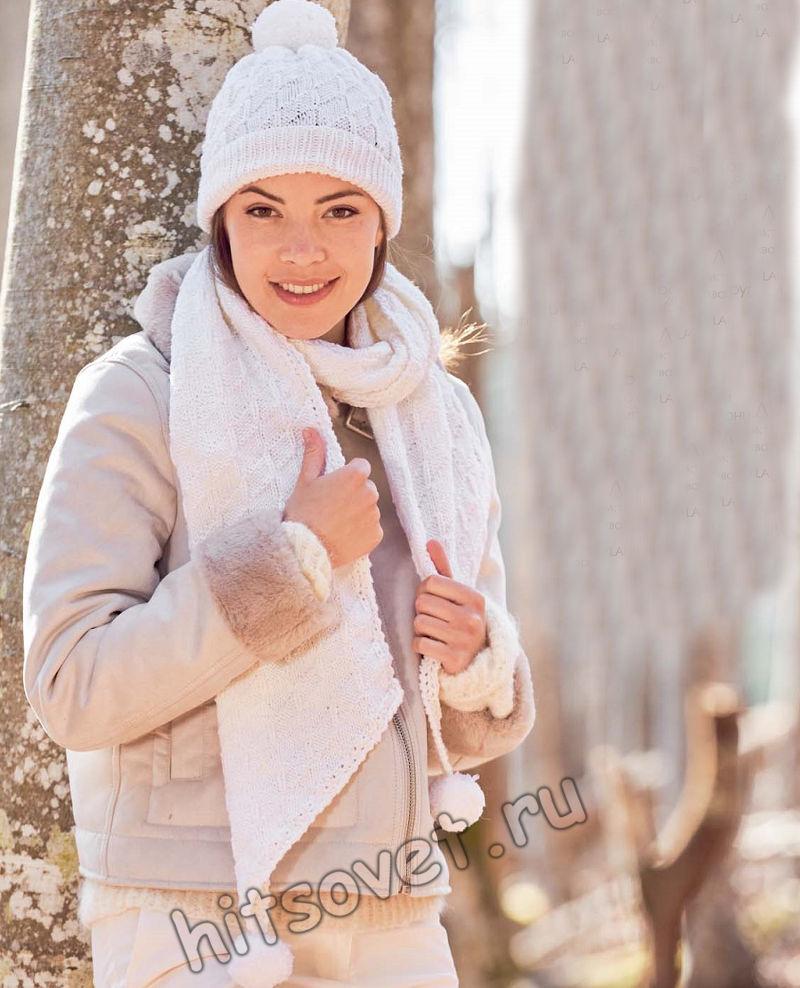 Белая шапка и шарф, структурным узором, фото.