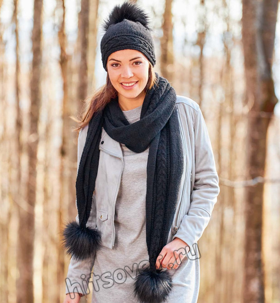 Черная вязаная шапка и шарф с косами, фото 1.