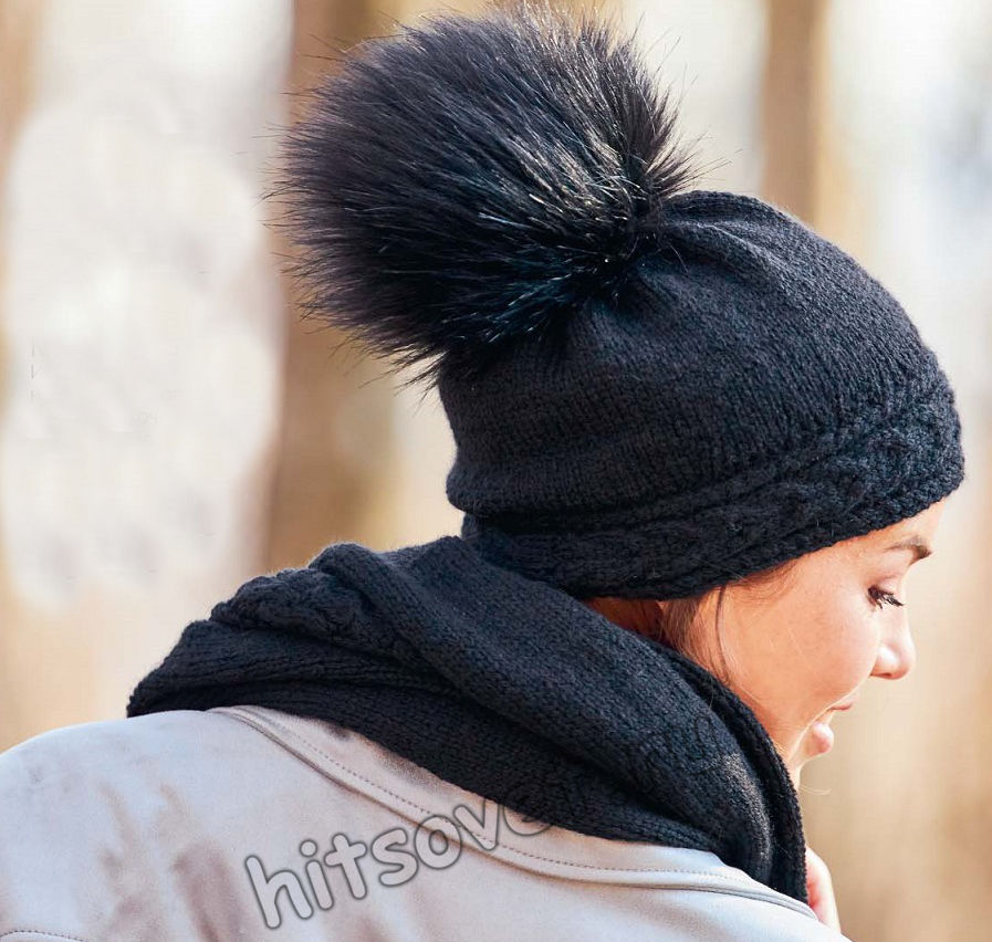Черная вязаная шапка и шарф с косами, фото 2.