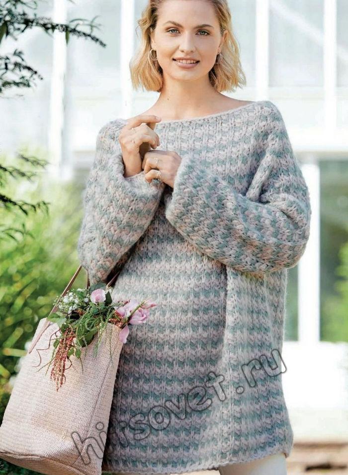 Полосатый пуловер оверсайз, фото.