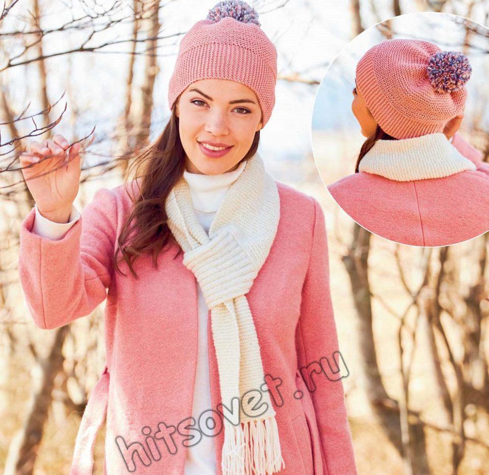 Розовая шапочка и белый шарф спицами, фото.