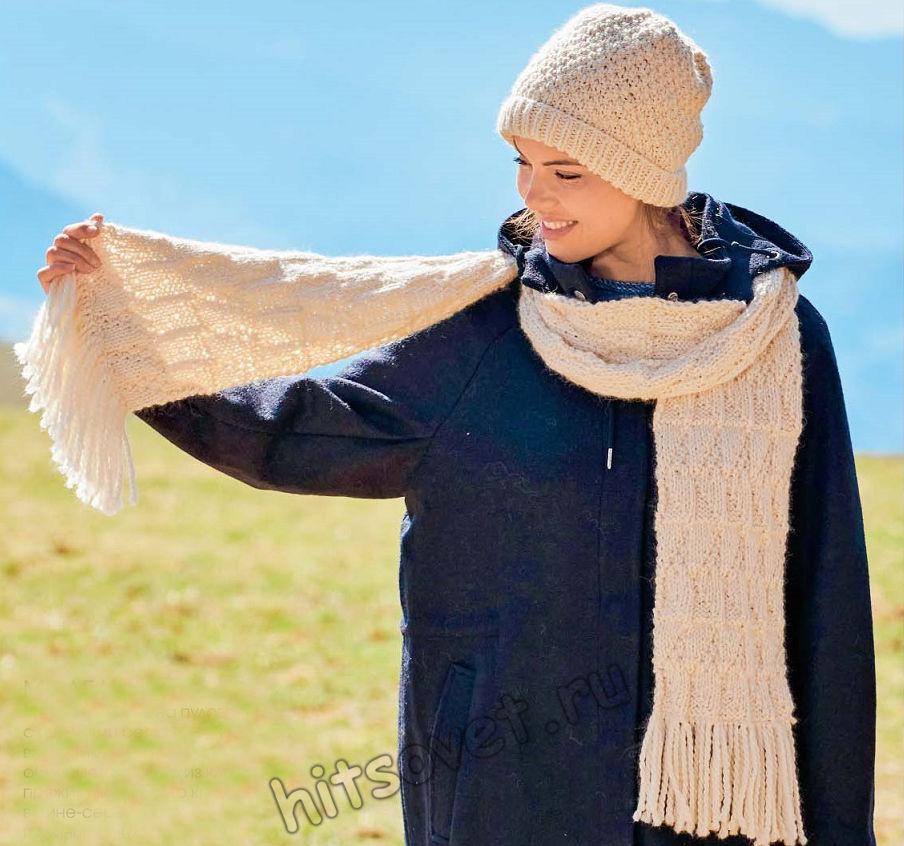 Женская шапка и шарф, структурным узором спицами