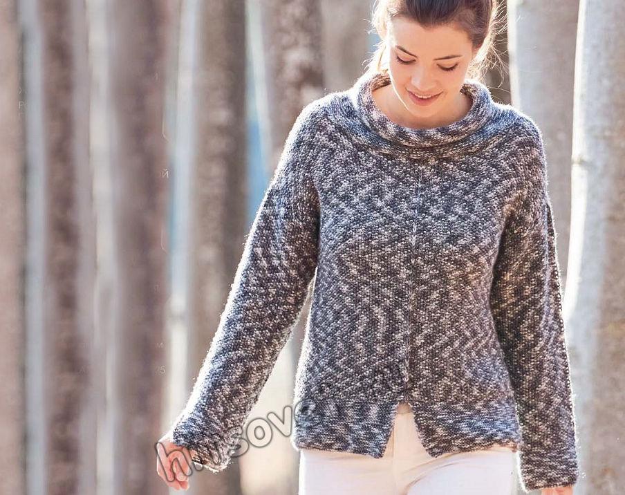 Женский модный свитер с воротником руликом, фото.