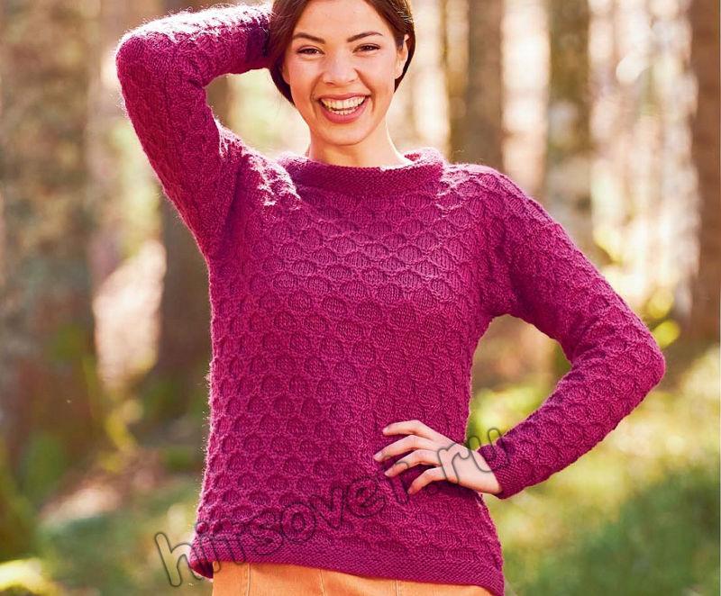 Женский вязаный пуловер с узором соты, фото.