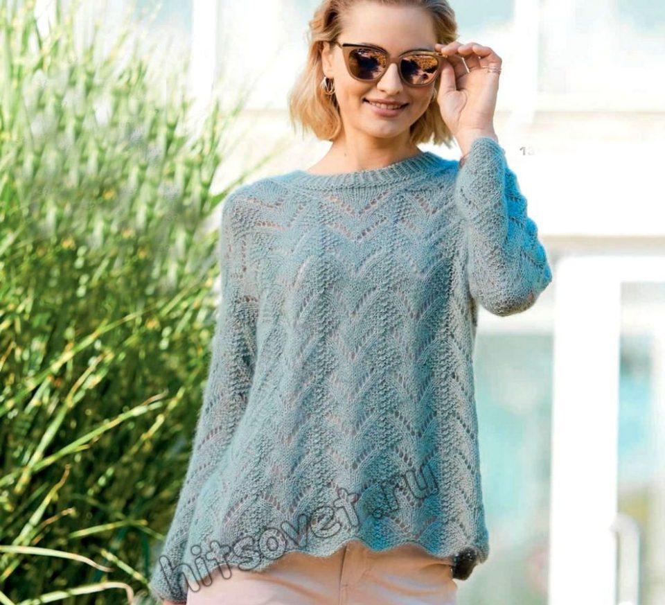 Красивый вязаный пуловер оверсайз для женщин, фото.
