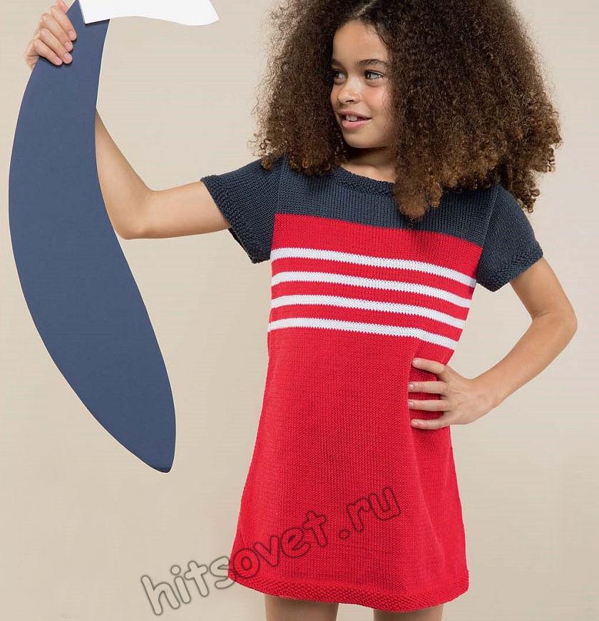 Стильное вязаное детское платье, фото.
