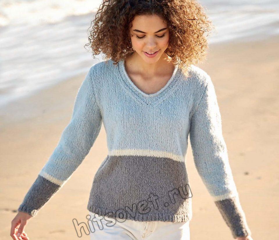 Стильный трёхцветный пуловер спицами, фото.