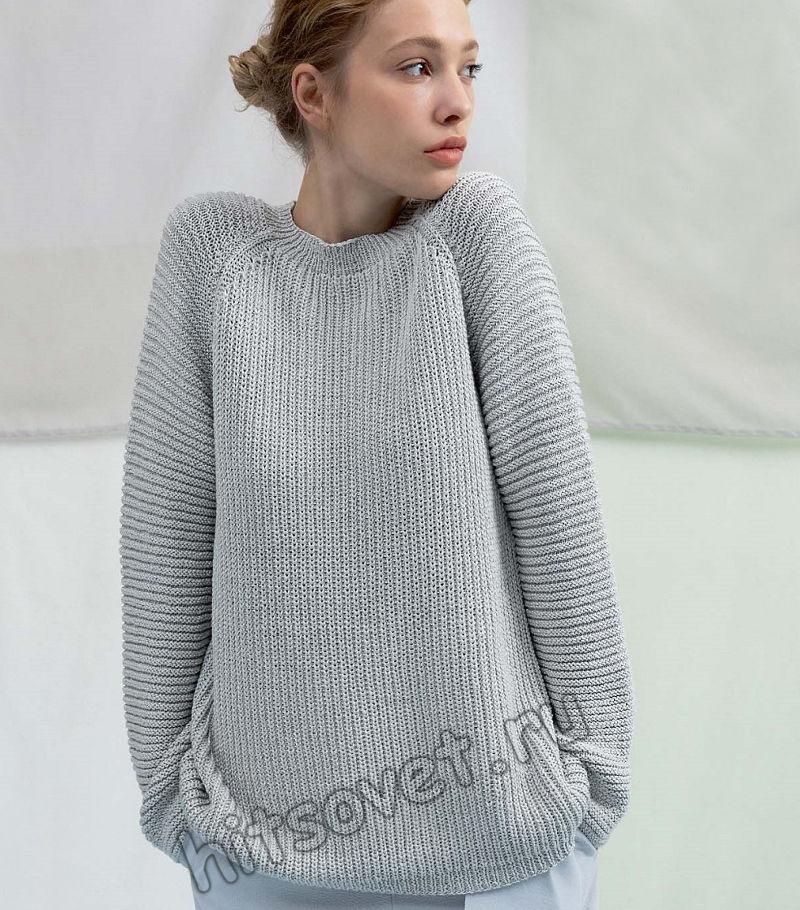 Свободный свитер с рукавами реглан, фото.