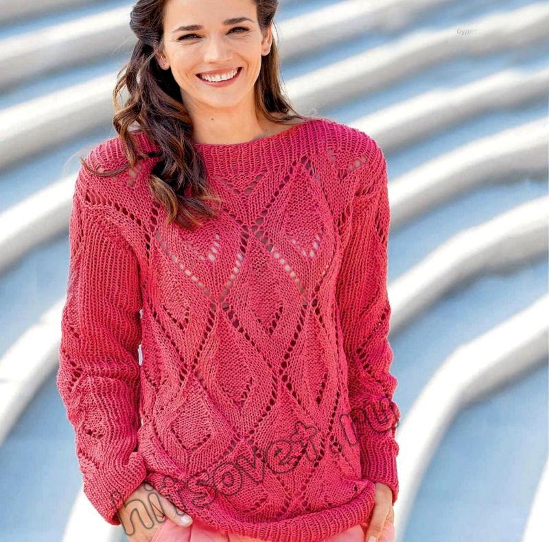 Вязание ажурного пуловера с ромбами, фото.