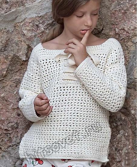 Вязаный пуловер для девочки крючком, фото.