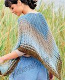 Ажурная полосатая шаль спицами