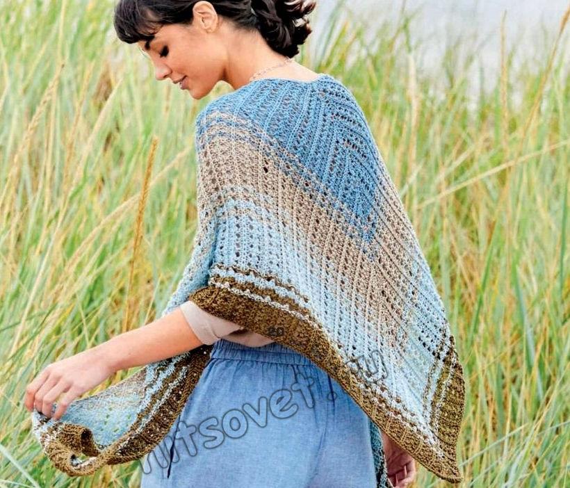 Ажурная полосатая шаль спицами, фото.
