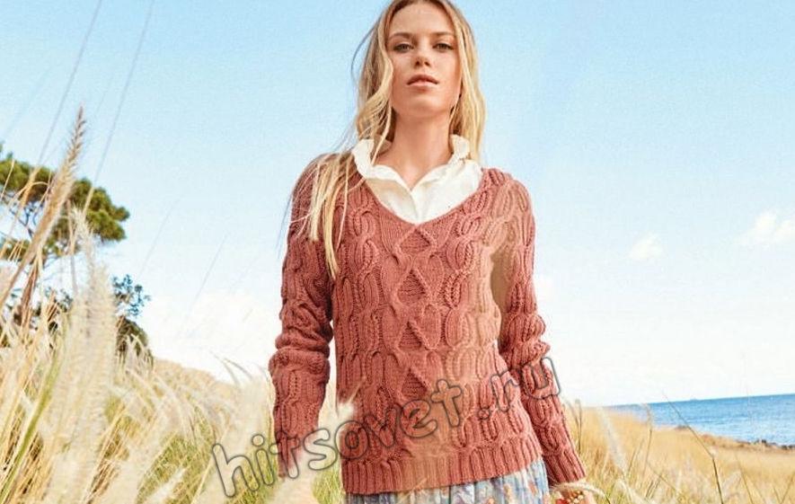 Пуловер с косами Roswitha, фото.