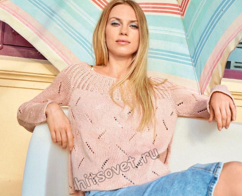 Стильный вязаный пуловер Runny, фото.