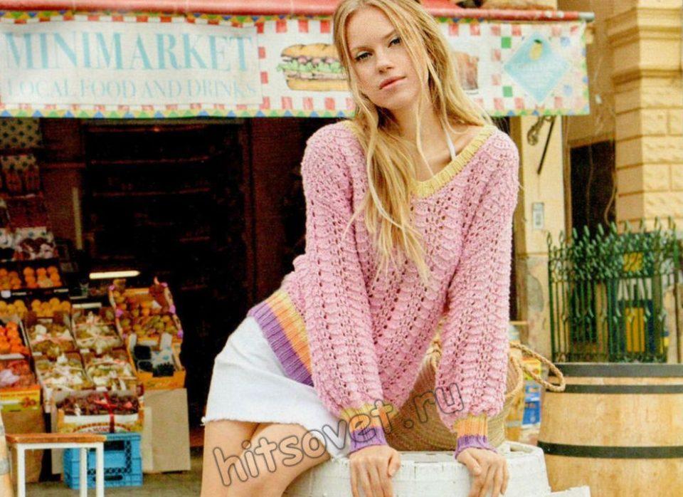 Свободный вязаный пуловер Radius, фото.