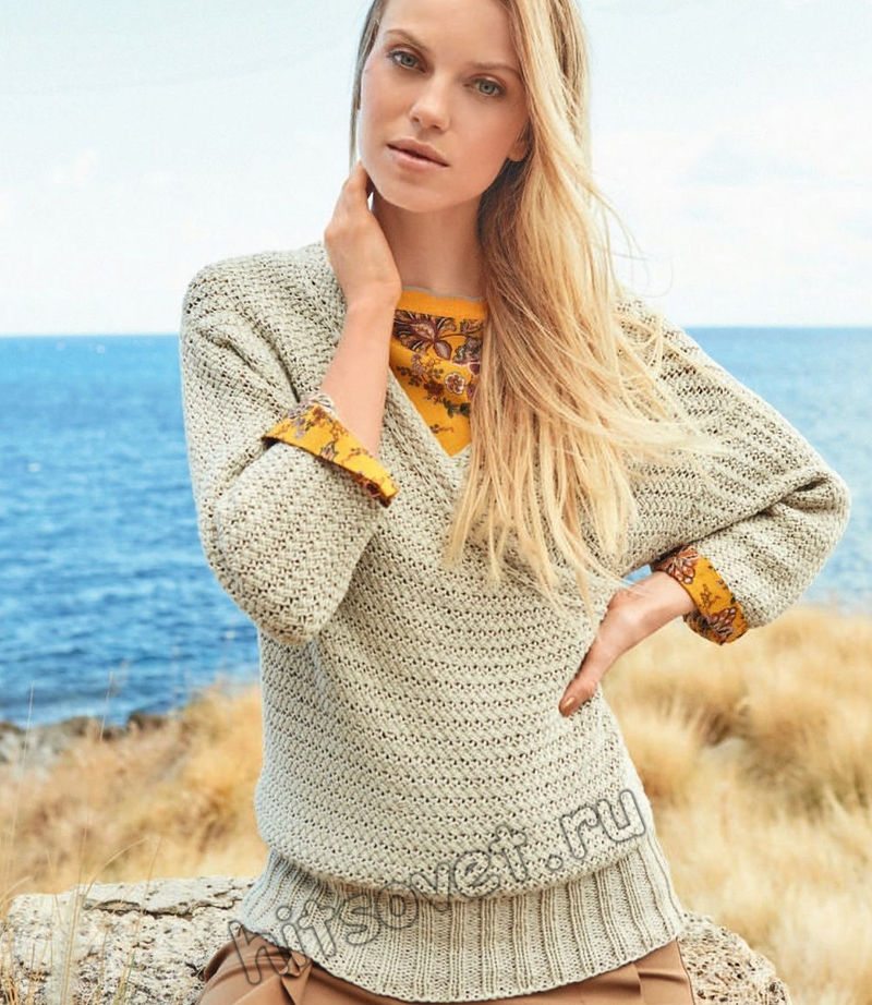 Вязаный пуловер с эффектом запаха Renka, фото.
