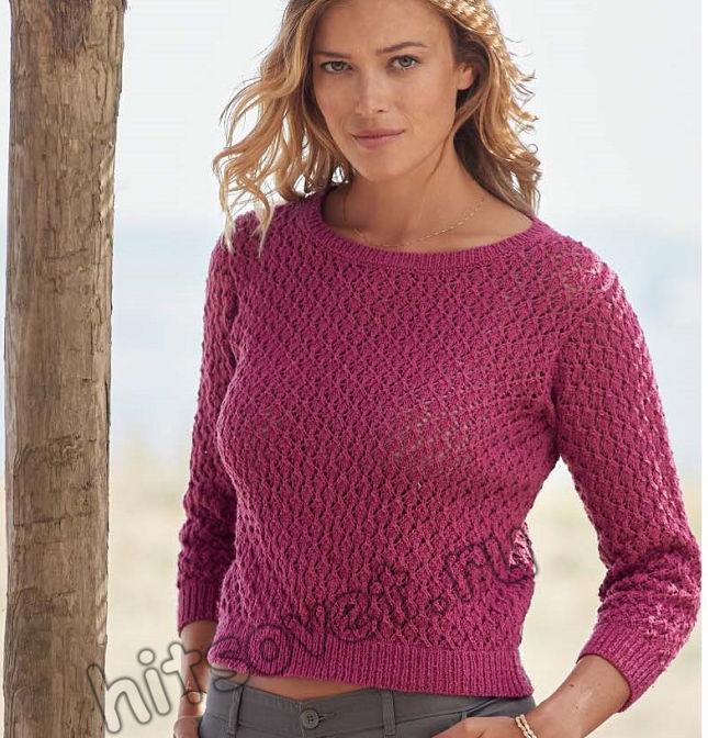 Летний укороченный пуловер спицами из шелка, фото.
