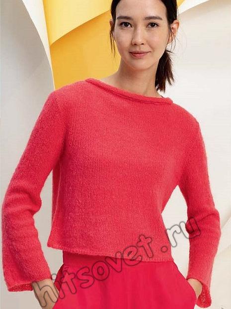 Пуловер лицевой гладью с воротником руликом, фото.