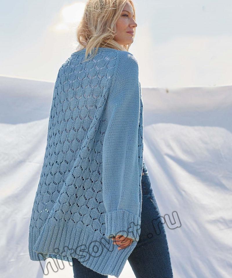 Удлиненный голубой кардиган спицами, фото.