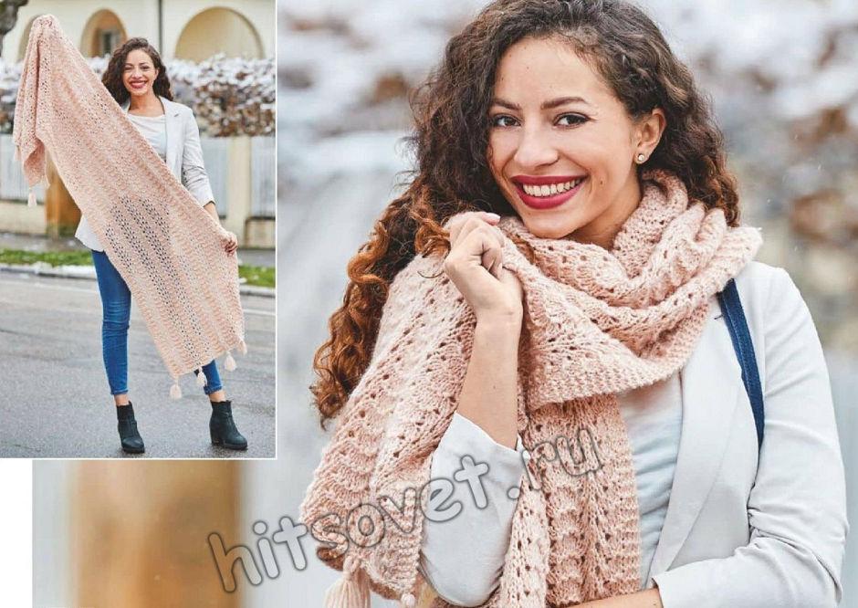 Красивый ажурный шарф-палантин