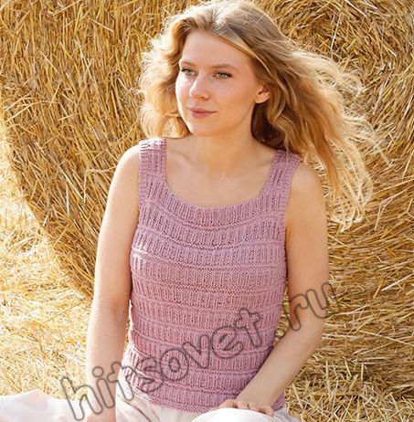 Вязание майки Pink Straw, фото 2.