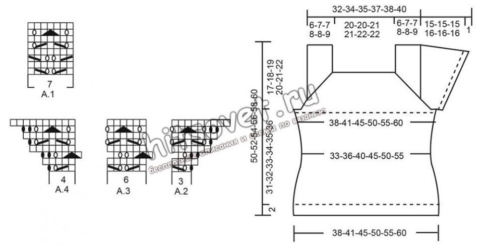 Вязание топа Mariposa, схемы.