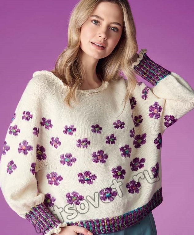 Женственный пуловер с оборками Ostara, фото 1.