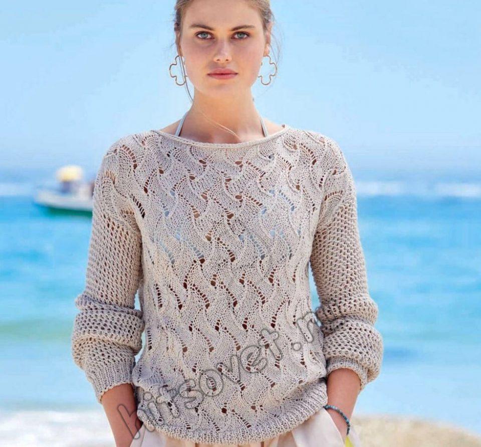 Красивый летний пуловер спицами 2021, фото.