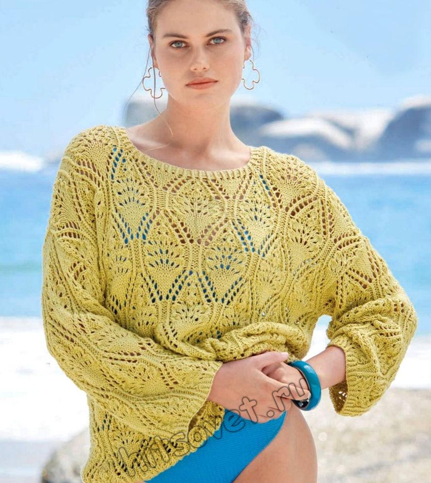 Летний ажурный пуловер 2021, фото.